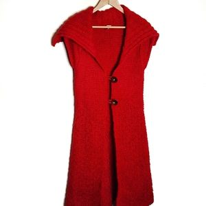 Free People Long Red Duster Vest Cardi